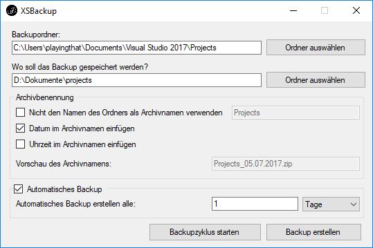 In einem übersichtlichen Fenster sind direkt alle Funktionen von XSBackup erreichbar.